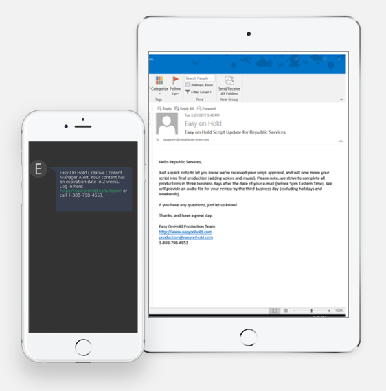 text and email alerts from Easy On Hold on iPhone and iPad