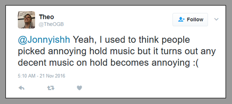 twitter rant annoying music on hold