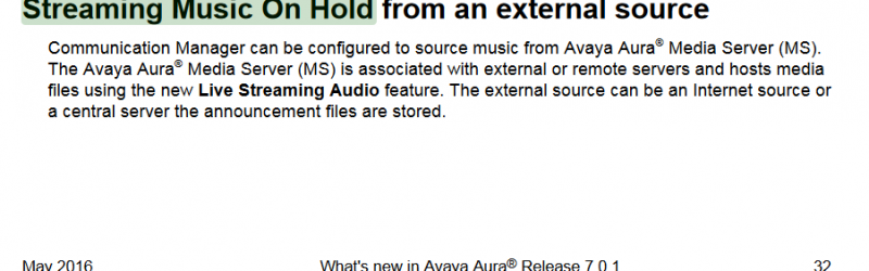 avaya aura streaming music on hold release notes