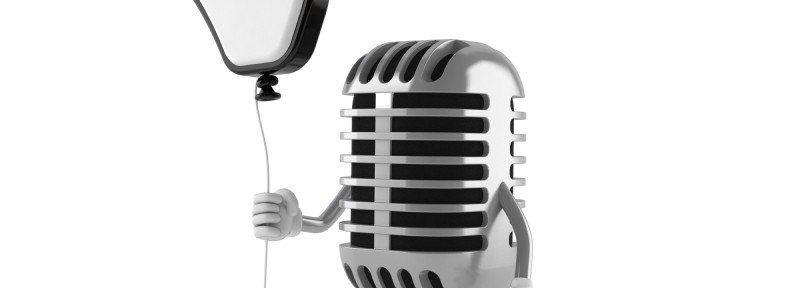 Microphone with web click hand balloon - cute!